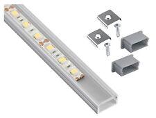 Aluminium Profil eloxiert 1m flach mit Abdeckung + Endkappe - für LED Lichtband