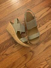Skechers Luxe Foam Women's Size 7 Tan-Cork Wedge Heel Slingback Summer Sandals