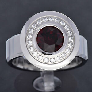 Tungsten Band Stainless Steel Red Round Simulated-Ruby Men's Wedding Band TR