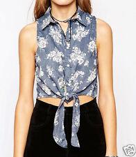 Camicia corta di jeans a fiori annodata davanti 44 Denim floral knot vest top