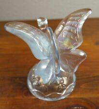 1980s Fenton Iridescent Ice Blue Figural Butterfly Ring Holder.  1B