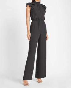 NEW EXPRESS flutter sleeve wide leg pants jumpsuit m medium black