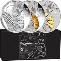 2020 Year Of The Mouse Lunar Silver Coin Trio