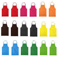 Men Women Solid Anti-wear Cooking Kitchen Restaurant Bib Apron Dress with Pocket