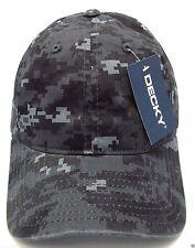 Gray Digital Camouflage Cap DECKY Camo Dad Hat Curved Visor OSFM Adjustable NWT