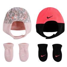 Nike Baby Girls Toddler 2 Piece Hat Mittens Set New Fleece Chin Trapper Cap