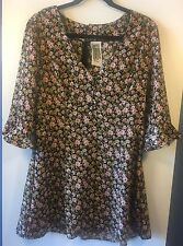 Free People Women's Floral Print 3/4 Sleeve Dress - Size Medium (M) - NWOT!