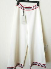 New Authentic Gucci Wide Leg Cropped Silk Cotton Stripped Knitted Pants Ivory S