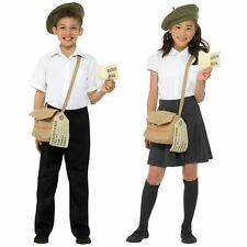Girl Boy Historical 40s Instant Kit Green Beret Hat Satchel Bag Tag Fancy Dress