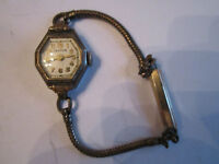 VINTAGE CROTON LADIES' WATCH - OCTAGONAL CRYSTAL - 12K GF BAND - BOX STR