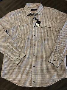 NWT Kenneth Roberts Platinum White Black Striped Long Sleeve Shirt Large L $69.5