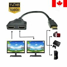HDMI Splitter 1 In 2 Out Cable Adapter Full HD 1080P Male to 2 Female 3D