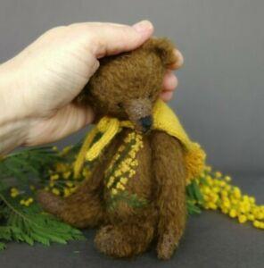 Little teddy bear 7.48 in. Mimosa Golden Yellow Blooms OOAK artist teddy bear
