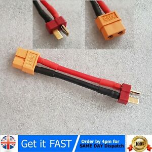 Female XT-60 to male dean T plug 14AWG 10cm connector cabled adapter