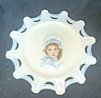 "Victorian Portrait Plate 6"" Antique Hand Painted Little Girl Signed Porcelain"