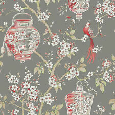 A Street Prints FD22758 - Grey/Red Birds Lanterns Fine Wallpaper Roll 56 Sq Ft