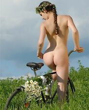 Nude Naked Picture Photo of Female Girl Woman Sexy Butt on Bike