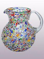 Mexican Glassware - Confetti rocks blown glass pitcher
