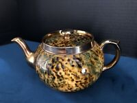 Vintage Gibsons Porcelain Teapot Speckled Gold Tortoise Shell England.