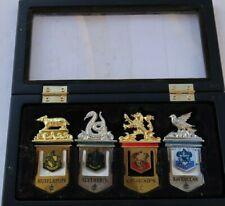 RARE Vintage SET 4 Bookmarks & Case Harry Potter Hogwarts House Metal LOT LOOK