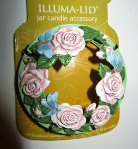 """Yankee Candle 2007""""GARDEN ROSE"""" Spring Butterfly~Floral ILLUMA LID~22oz~RARE~NEW"""