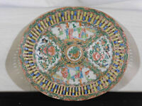 Chinese c1800's Rose Medallion Famille Rose Reticulated Inner Edge Platter