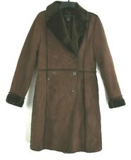 The Limited Women Size XS Faux Fur Suede Double Breasted Winter Coat Brown