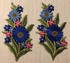 New listing Floral Patches Iron On Pink Green Blue Gold Lot 2