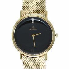Vintage Omega Diamond Black Diamond Museum Watch 14k Yellow Gold Mesh 48.8g