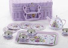 Delton Children's Tin Tea Set for 4-Medium Size- Pansy Pattern #8000-7