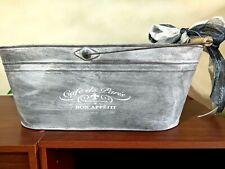 "Cafe De Paris 17"" oblong metal wine tub beverage cooler ice bucket w/ handle"