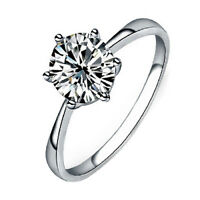 AU_ HK- Women Clear Zircon Inlaid Wedding Bridal Engagement Party Jewelry Ring C