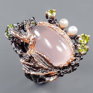 Vintage SET Rose Quartz Ring Silver 925 Sterling  Size 8.25 /R164426