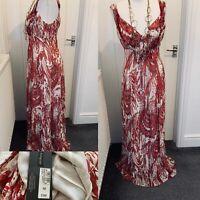 Autograph Antique Rose Tones Silk Maxi Dress Sz 12 BNWT £99.00 Feminine