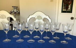 Etched -Crystal -Liqueur /Cordial Glasses Set of 12 -Vintage