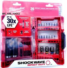 NEW Milwaukee 26 Pc Impact Drill Driver Black Oxide Bit Set 48-32-4408 Shockwave