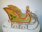 Vintage Wooden Sleigh Merry Chrismas On Sides Gold Colored Metal Runners
