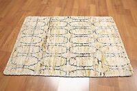 Hand Knotted Accent Rug 2x3 Bamboo Silk Multi-use Ivory Olive Navy Area Rug
