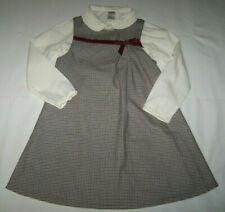 Gymboree Red/White/Black A-Line Houndstooth/Velveteen Jumper & Blouse Holiday 7