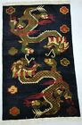 Antique Handmade Chinese Dragons Khaden Art Deco Wool Oriental Rug Carpet182x113