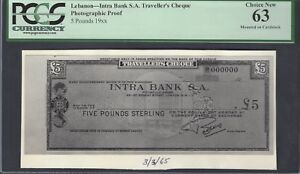 Lebanon - Intra Bank S.A Traveller's Cheque 5 Pounds 19** Photographic Proof UNC