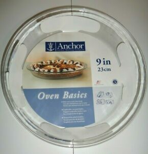 """Anchor Hocking Oven Basics Pie Dish, 9"""" / 23 cm, Clear Glass Item #82638 - New"""