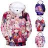 Anime 3D Darling in the FRANXX Men Women Hoodie Sweatshirt Jacket Coat Pullover