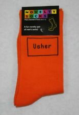 Orange Usher Wedding Socks UK 5-12, Novelty Socks Gift
