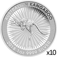 10 x 1 oz 2018 Silver Kangaroo Coin - .9999 Silver Coin - Australian Mint