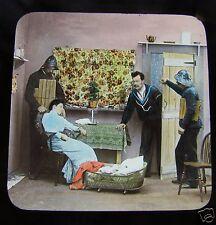 Glass Magic lantern slide A TERRIBLE CHRISTMAS EVE NO.21 C1890 VICTORIAN TALE