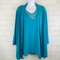 Susan Graver Open Front Cardigan L Teal Blue 2 Piece and Embellished Tank Top