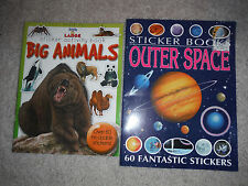 LOT of 2 books: Outer Space Sticker Book 60 stickers BONUS Animal Activity book