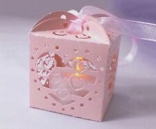 12x Pink Lanterns Holders for LED Tea Light Tealight Wedding Candle Heart Shape