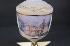 Thomas Kinkade Christmas Ornament Victorian Glass Glitter 2001 Ivory Home